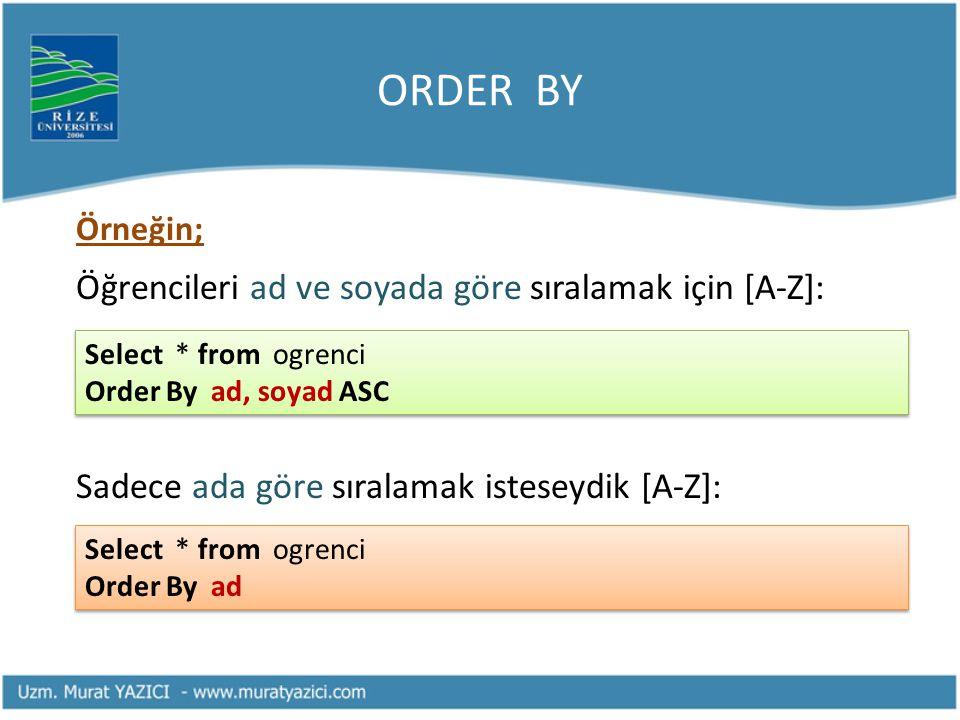 ORDER BY Öğrencileri ad ve soyada göre sıralamak için [A-Z]: